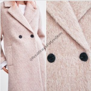 Zara Double Breasted Buttoned Pale Pink Coat